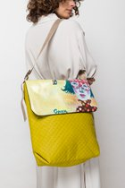 Big bag with cover Yellowish green & girl in mask cover