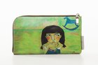 BASIC PURSE WITH ZIP Black haired girl printed