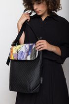 MEDIUM BAG WITH MINI COVER Black dotted with very colourful cover