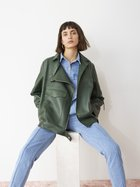 CECILE oversize leather biker country green