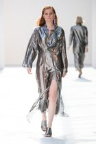 Lana silver metallic silk dress