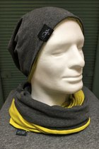 Men Beanies & Scarves SD7052MDG - Mustard/Dark grey