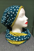 Women Beanies & Scarves SD6052DFK - Dotted-flowered knitted/Mustard