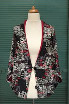 Cardigan SD1008TWRP - burgundy-white rectangle patterned/burgundy