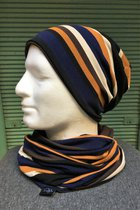 Men Beanies & Scarves SD7051DBOS-Dark blue-black-ocher striped/chocolate-brown