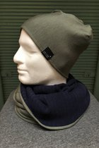 Men Beanies & Scarves SD7041KDBK - Khaki/Dark blue knitted