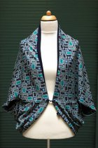 Cardigan SD10048TRWB - Turquois rectangle with blue/midnight blue