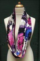 Women Loop Scarf SD41008VCB - Violet colored-brindle/burgundy