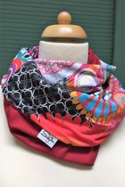 Women Loop Scarf SD4107CP - colured patterned/red