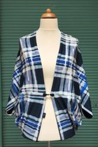 Cardigan SD10009BCW - blue checked with a little green/black