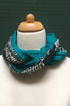 Women Loop Scarf SD41018WRP -Turquoise green-white rectangle patterned/dark turquoise