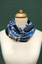 Man Loop Scarf SD4247BCW - Blue checked with green/petrol blue