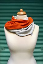 Women Loop Scarf SD4106GP - grey patterned/orange