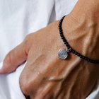 Onyx bracelet with silver medal Round stone