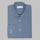Simon Skottowe - Herringbone brushed cotton shirt denim blue
