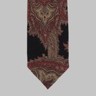 Drake's - Paisley printed tie in wool black/red