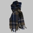 Begg & Co - Jura Stripe lambswool angora scarf conifer